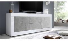 Lowboard TV-Element Kommode Basic weiß Hochglanz lack Beton Wohnzimmer 210 cm