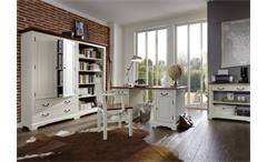 Regal Siena Akazie teilmassiv Bücherschrank Büroregal Landhaus antikweiß