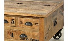 Couchtisch Rustic Truhe Mangoholz massiv Vintage Look Wohnzimmertisch