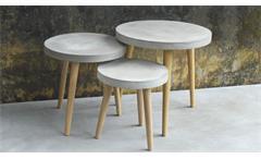 3 Satz Tisch groß Cement Beistelltisch aus Leichtbeton und Beine Eiche massiv