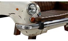 Sofa Autofront Sitzbank 2-Sitzer Metall und recyceltes bunt lackiertes Altholz Lederlook