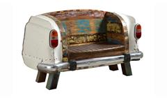 Sofa Autoheck Sitzbank 2-Sitzer Metall und recyceltes bunt lackiertes Altholz Lederlook