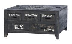 Couchtisch Bronx Truhe Kommode Tisch Mangoholz antikschwarz lackiert
