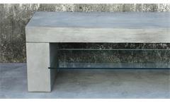 Lowboard Cement TV-Board Unterteil in Leichtbeton grau mit 1 Glasablage