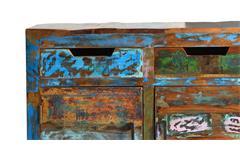 Kommode Miami Stauraumelement Schrank aus Altholz bunt lackiert mit Metallbeinen