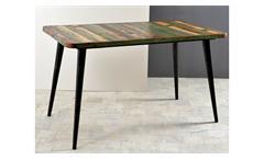 Esstisch Miami Esszimmertisch aus Altholz bunt lackiert mit Metallbeinen 140x70