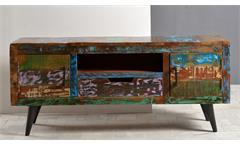 Lowboard 2 MIAMI aus Altholz bunt lackiert mit Metallbeinen
