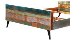 Bett Miami Bettgestell Holzbett Altholz bunt lackiert mit Metallbeinen 180x200