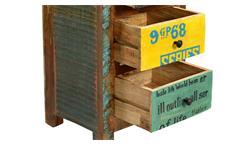 Kommode 3 Speedway Schrank recyceltes Altholz bunt lackiert mit 5 Schubkästen