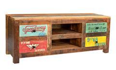 Lowboard SPEEDWAY recyceltes Altholz bunt lackiert 130 cm