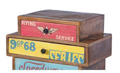 Kommode 4 Speedway Schrank recyceltes Altholz bunt lackiert mit 4 Schubkästen