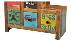 Kommode 8 Speedway Schrank recyceltes Altholz bunt lackiert mit 6 Schubkästen
