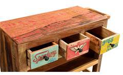 Küchenwagen Speedway Beistelltisch Rollwagen recyceltes Altholz bunt lackiert