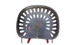 Barhocker This That Gestell Metall rot mit recyceltem Traktorsitz aus Roheisen