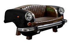 Sofa Autofront THIS THAT Metall schwarz mit Kissen Altholz bunt