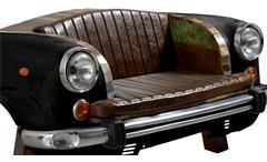 Sofa Autofront This That 2-Sitzer Metall schwarz mit Kissen Altholz bunt lackiert