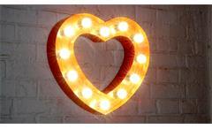 Wandleuchte Herz Vintage Retro Lampe Stahl rot 51x48 cm