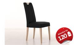 Stuhl Sam 2 Polsterstuhl Esszimmerstuhl in schwarz und Sonoma Eiche Holzgriff