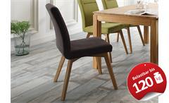 Stuhl Bela 2er Set Esszimmerstuhl Polsterstuhl in braun und Eiche natur massiv
