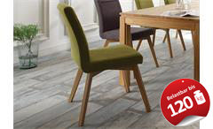 Stuhl Bela 4er Set Esszimmerstuhl Polsterstuhl in grün und Eiche natur massiv