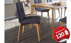 Stuhl Manon Esszimmerstuhl Küchenstuhl Bezug jeans Gestell Eiche natur massiv