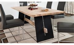 Esstisch Aladin Eiche Bianco massiv und schwarz lackiert Tisch 220x95 Esszimmer