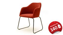 Systemsessel THEO Sessel Stuhl Stoff rot Metall schwarz