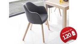 Systemsessel THEO Sessel Stuhl Stoff grau Buche natur Lack
