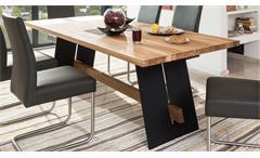 Esstisch Aladin Tisch Eiche Natur massiv und schwarz lackiert 200x95 Esszimmer