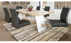 Essgruppe Aladin Eiche Bianco weiß mit Stuhl Kadira fango Tischgruppe Esstisch