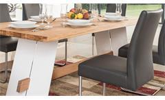 Essgruppe Aladin Eiche Natur weiß mit Stuhl Kadira fango Tischgruppe Esstisch