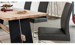 Essgruppe Aladin in Eiche Bianco schwarz mit Stuhl Kadira in fango Tischgruppe