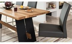 Essgruppe Aladin Tischgruppe in Eiche Natur schwarz mit Stuhl Kadira in fango