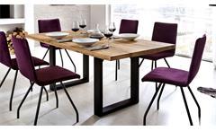 Esstisch Quebec Tisch in Eiche rustik Massivholz geölt Metall schwarz 220x100 cm