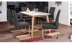 Essgruppe VINKO Tischgruppe Eiche massiv weiß mit Schwingstuhl Kadira