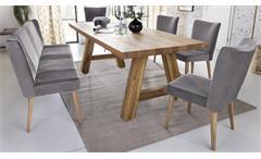 Essgruppe Lynn Tischgruppe Eiche massiv mit Bank Jennifer 4x Stuhl Jan grau