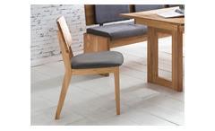 Stuhl Norman 2 Esszimmerstuhl Holzstuhl Stoff grau und Eiche natur massiv geölt
