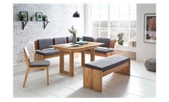 Eckbankgruppe Stockholm Bank Tisch Eiche natur massiv geölt Stoff grau 3-teilig
