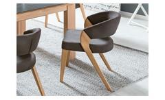 Polsterstuhl Almada 1 Stuhl in Stoff braun und Buche natur massiv mit Kaltschaum