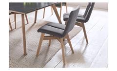 Polsterstuhl Esszimmerstuhl Stuhl Arona System Stoff grau und Eiche massiv geölt