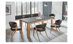 Tischgruppe MANZANO XL ALMADA 1 Dekton Buche Stoff braun Auszug Video
