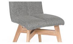 Tischgruppe Trondheim Alina Dekton Eiche bianco massiv und Stoff grau mit Video