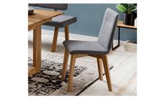 Polsterstuhl Ontario 1 Esszimmerstuhl Küchenstuhl Stuhl Stoff grau Eiche natur