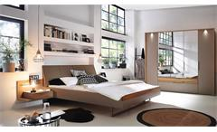Schlafzimmer Set Tanola Bett Schrank Nako fango matt Wildeiche Asteiche massiv