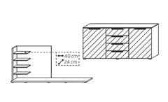 Kommode Sideboard Anrichte mit Regal kristallweiß Glas Fango matt LED Beleuchtung
