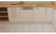Einbauküche Schüller Ausstellungsküche Küche weiß Hochglanz Buche natur E-Geräte