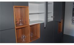 Einbauküche Schüller Ausstellungsküche Küche Insel schwarz grau Walnuss E-Geräte