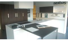 Einbauküche Schüller Ausstellungsküche Küche Insel weiß Hochglanz mit E-Geräte