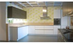 Einbauküche Schüller Ausstellungsküche Küche weiß Hochglanz Eiche mit E-Geräte