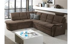 Ecksofa links GINGER Sofa in braun mit Bettfunktion